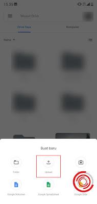 2. Selanjutnya pilih Upload untuk mengunggah file yang ingin kalian unggah ke Google Drive. Jangan pilih folder karena itu membuat folder baru