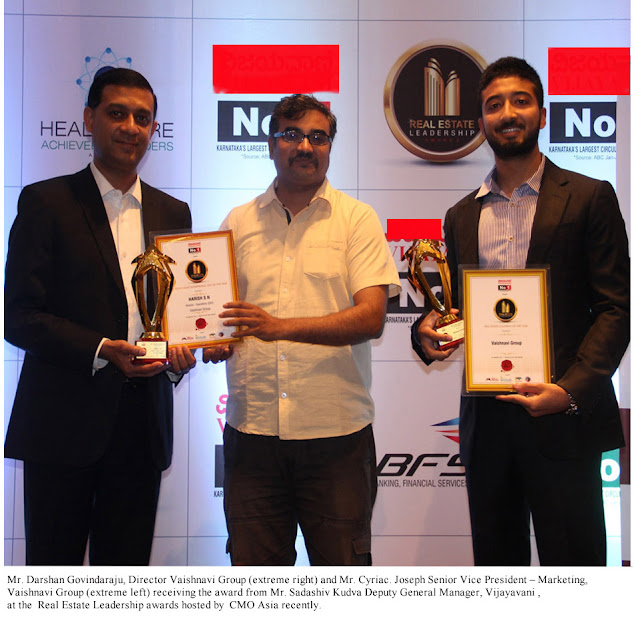 Vaishnavi Group Honoured with Developer of the Year Award 2016 at Real Estate Leadership Awards by CMO Asia