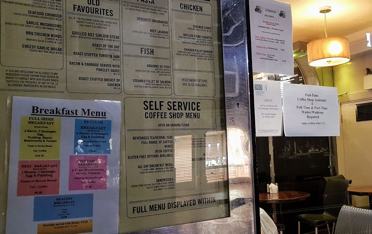 Breakfast and lunchtime menus at GBC cafe in Galway -