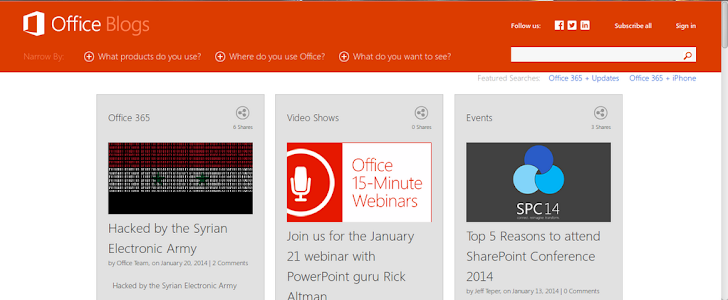 Syrian Electronic Army kept their promise; Microsoft's Office blog hacked