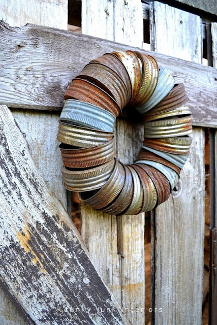canning jar lid wreath via Funky Junk Interiors