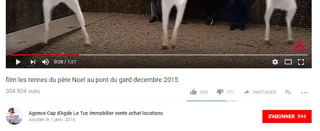 film les rennes du père Noel au pont du gard decembre 2015