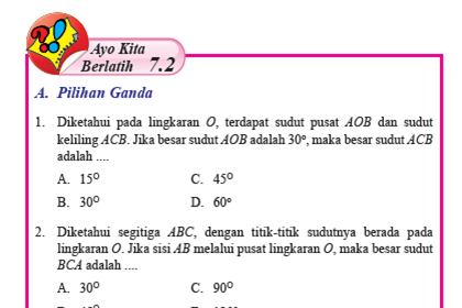 Pembahasan Ayo Kita Berlatih 7.2 Matematika Kelas 8 Hal 77-78 Bab 7 Lingkaran Semester 2