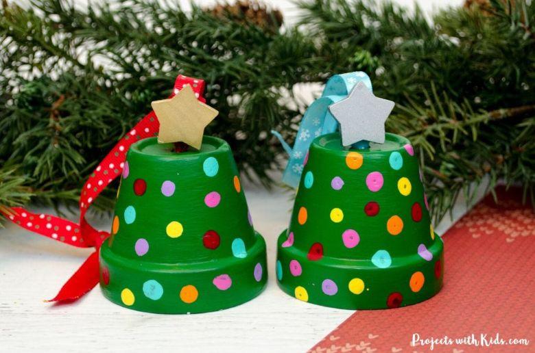clay pot Christmas tree craft