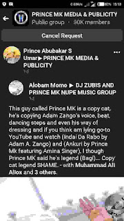 prince mk baagi is been accused of copying Adam a zango
