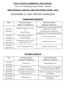 West Bengal Judicial Service Final Exam Schedule