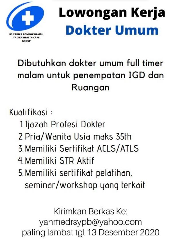 Loker Dokter RS Yadika Pondok Bambu Jakarta Timur (Pengiriman Berkas sebelum 13 Desember 2020)