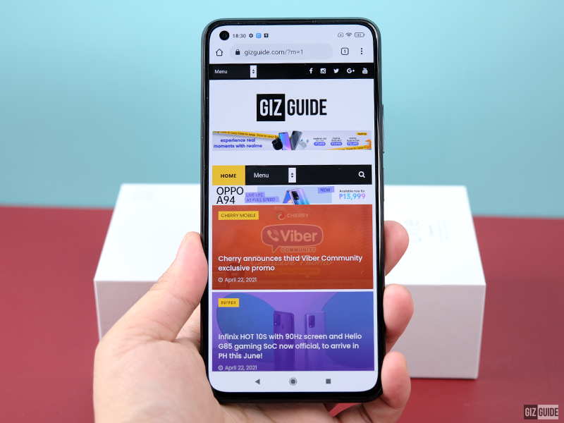 THE GIZGUIDE website on the MI 11 Lite