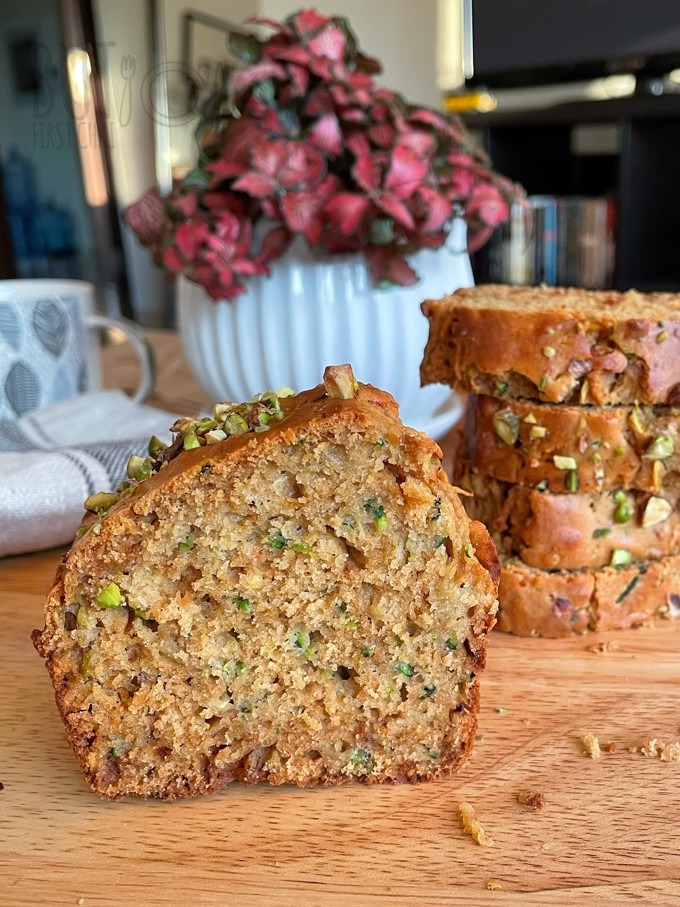 Zucchini Quick Bread with date syrup stacked and cutside show