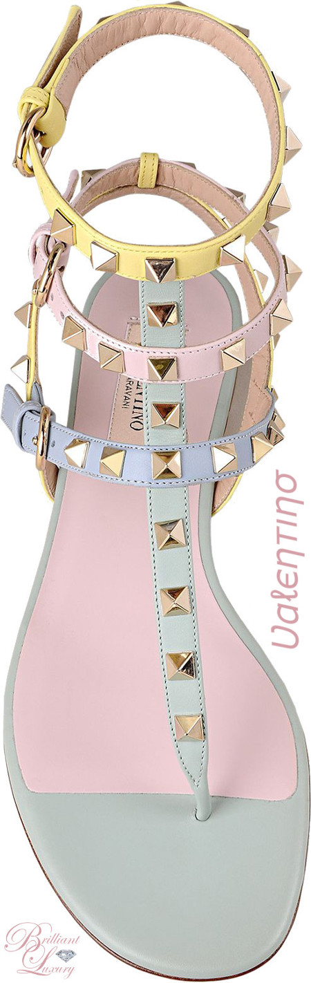 Brilliant Luxury ♦ Valentino Watercolor Rockstud Flat Sandal