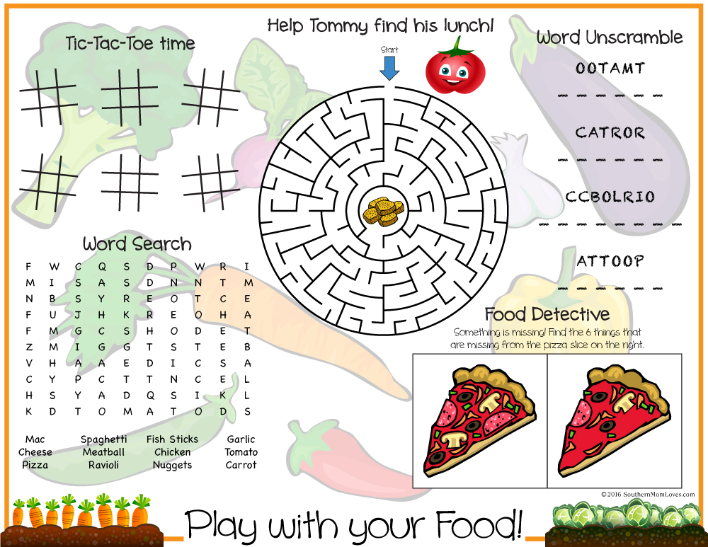 southern mom loves play with your food printable kids placemat games