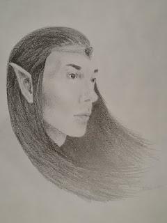 Pencil drawing of Manideus, half-elf sorcerer