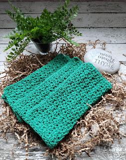 Handmade Green Cotton Dish Cloths Washcloths