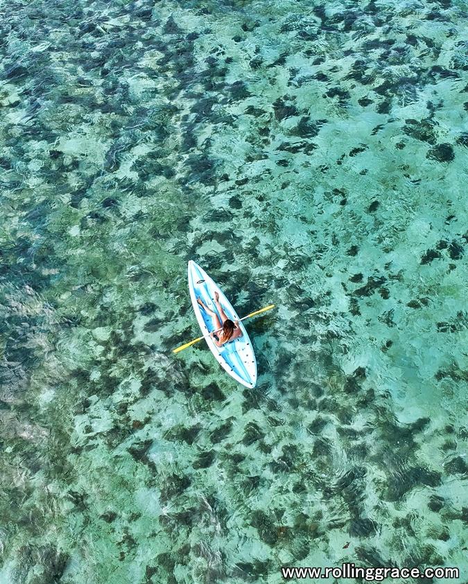 Ocean kayak at Pulau Mabul