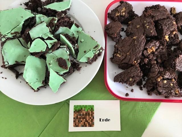 Minecraft-Geburtstag, statt Kuchen gibt es Brownies+