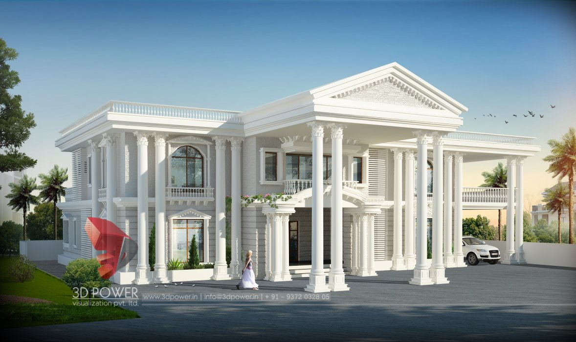 Residential towers row houses township designs villa for Bungalow exterior design