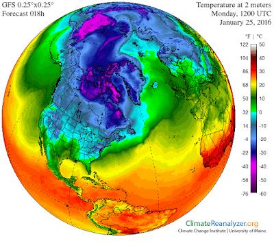 Carte représentant la température à 2 mètres calculée par le modèle GFS d'après les observations. On note une langue d'air doux en direction du Pôle, arrivant par l'Atlantique