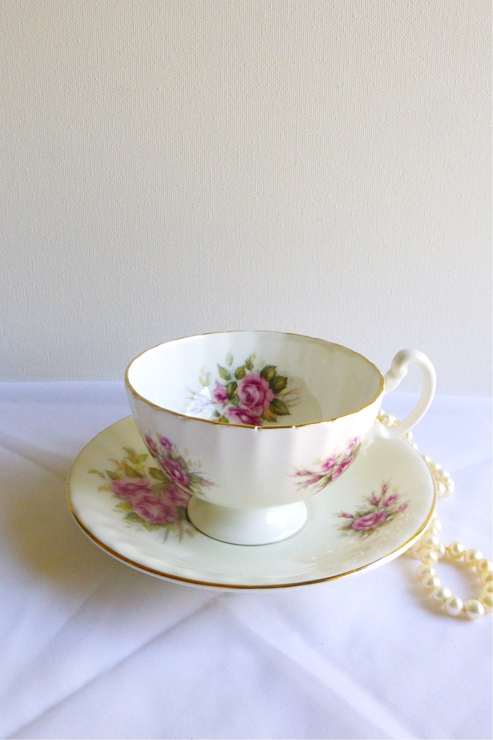 Harleigh China bone china rose teacup and saucer, vintage rose teacup and saucer, pink rose china, pink rose teacup, Vintage Tea Treasures on Etsy, Etsy shop Vintage Tea Treasures, vintage tea ware, vintage gifts, English bone china, vintage English tea ware, Etsy shop update