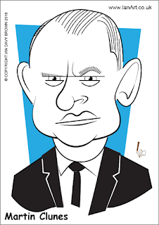 Martin Clunes caricature by Ian Davy Brown