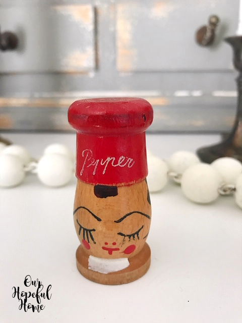 red chef hat wooden salt pepper shaker painted face