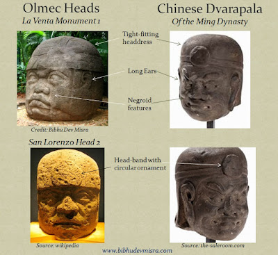 A Chinese Dvarapala (door-guardian) with a tight-fitting headdress, ear ornaments, and negroid features closely resembling the Olmec Stone Heads