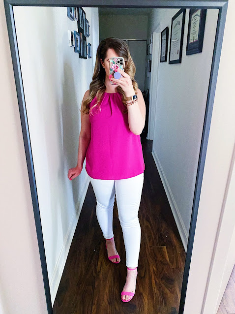 Hot Pink Sleeveless Blouse and White Jeans Outfit || Tori's Pretty Things