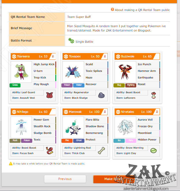 ZAK Entertainment: Pokemon Sun & Moon QR Rental Teams