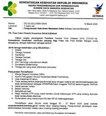 Rekrutmen Nusantara Sehat Individu Darurat Bencana