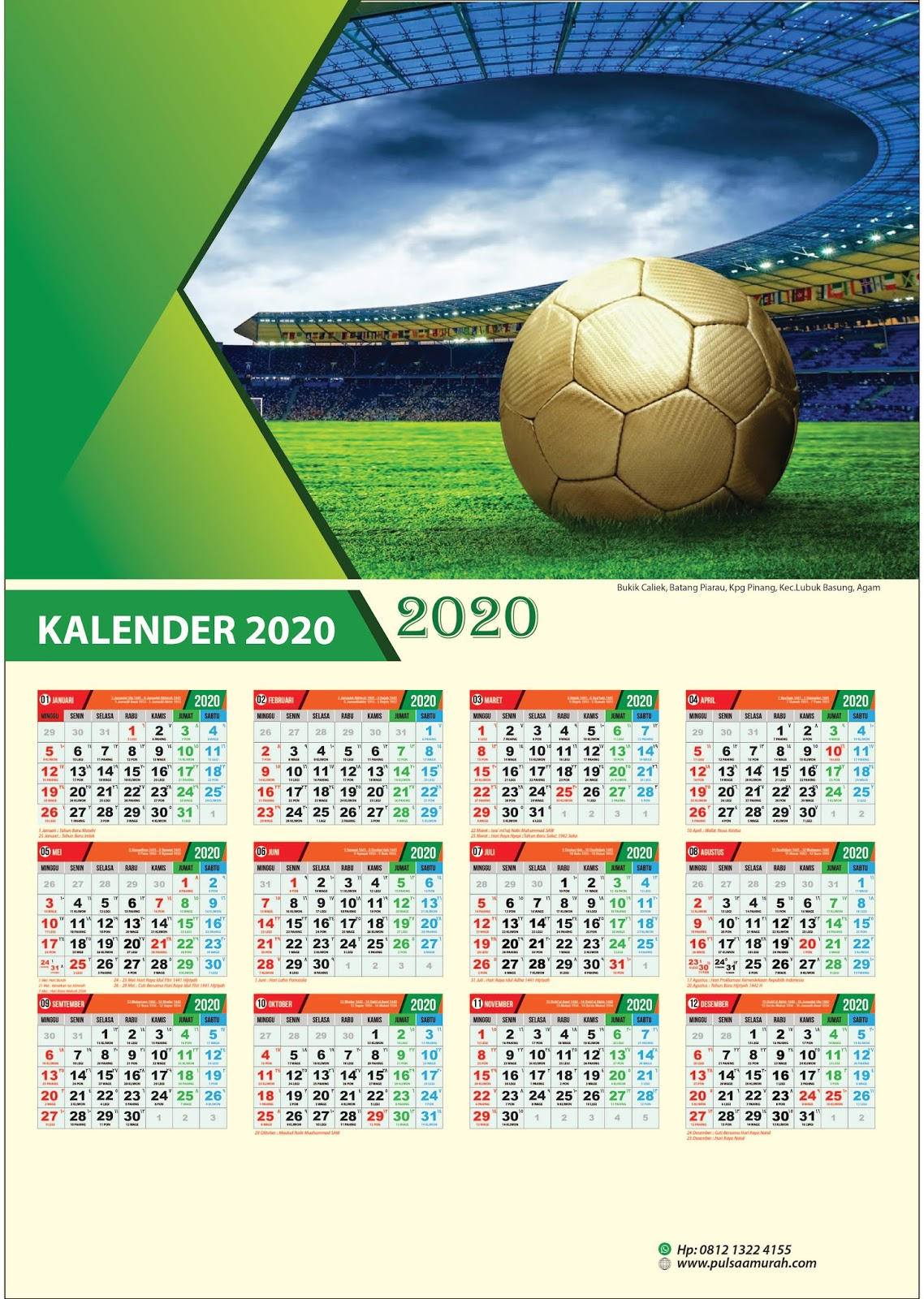 Download Desain Template Kalender 2020 Gratis - Baraja Desain