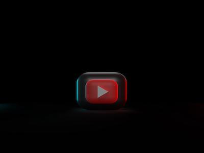 3D youtube icon on black background