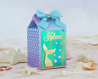 festa sereia luxo caixinha lembranca personalizada