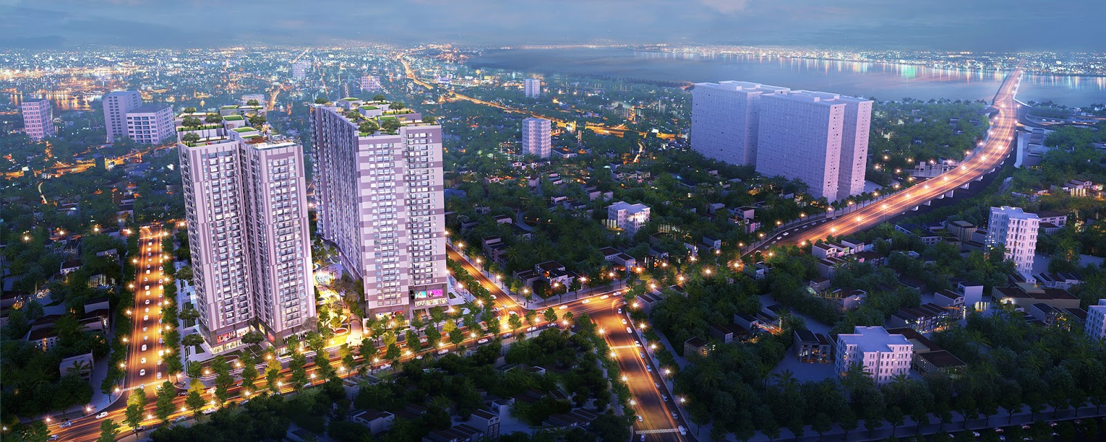Vẻ đẹp về đêm của dự án chung cư Imperia Sky Garden Minh Khai