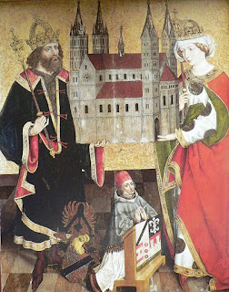 St. Henry II and his wife St. Cunigunde of Luxemburg, with the Bamberg Cathedral.
