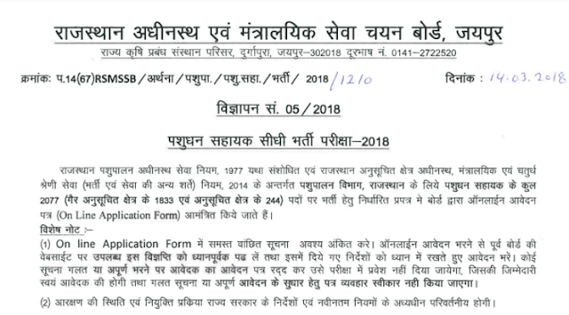 Rajasthan RSMSSB Live Stock Ass Recruitment 2018 (2077 Posts)