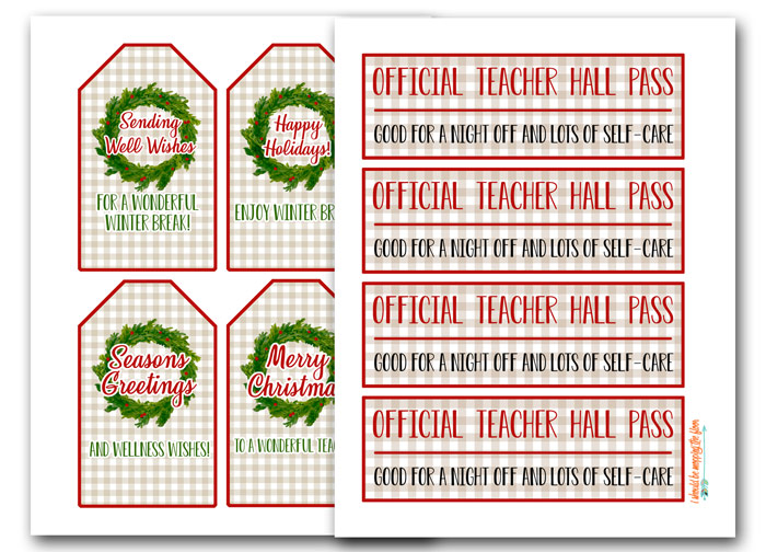 Free Printable Christmas Tags for Teachers