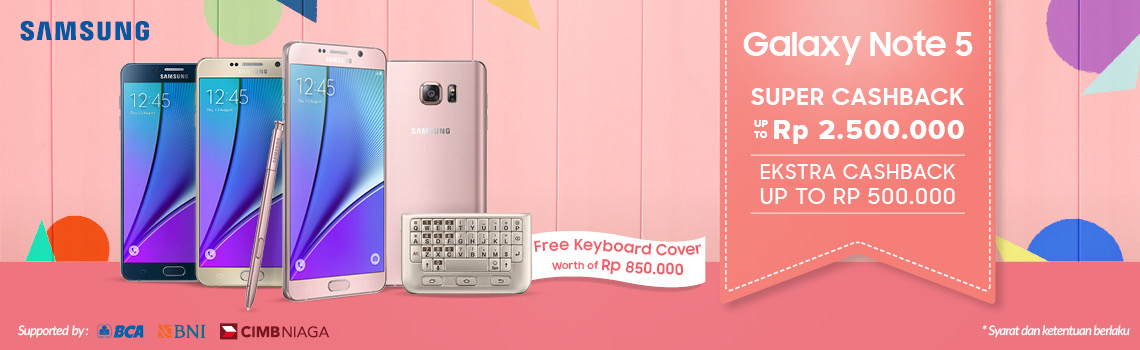 Galaxy Note 5 Super Cashback + Samsung Original Keyboard Cover