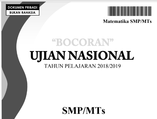 Bocoran Soal UN (UNBK) Matematika SMP 2019, tomatalikuang.com