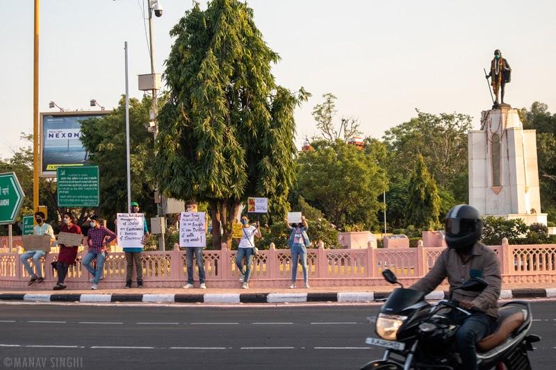 Youth Protest Gandhi Circle Jaipur