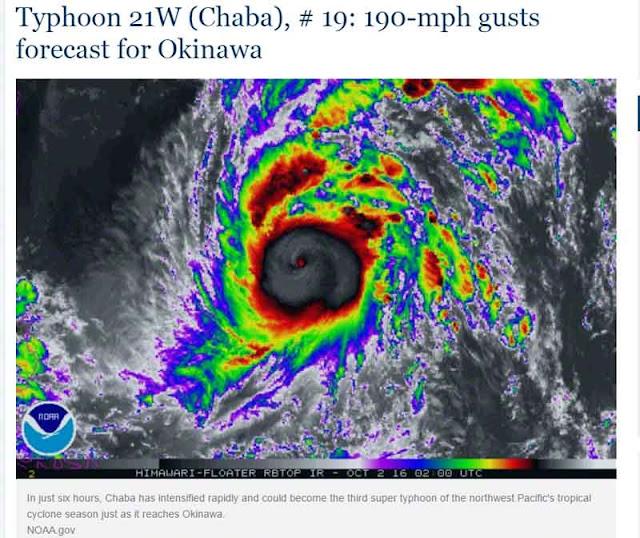 weather map, Typhoon Chaba, screenshot