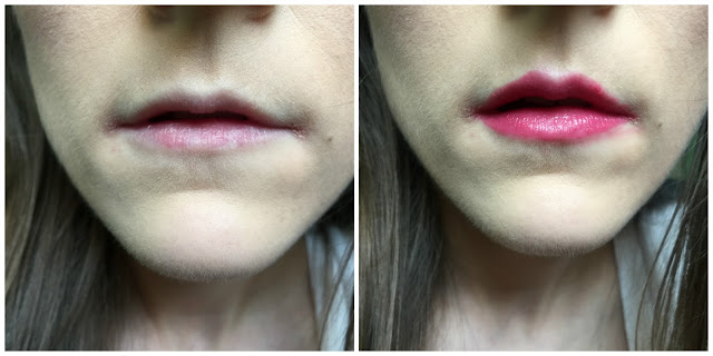 before and after kiko smart lipstick in 912 crimson red