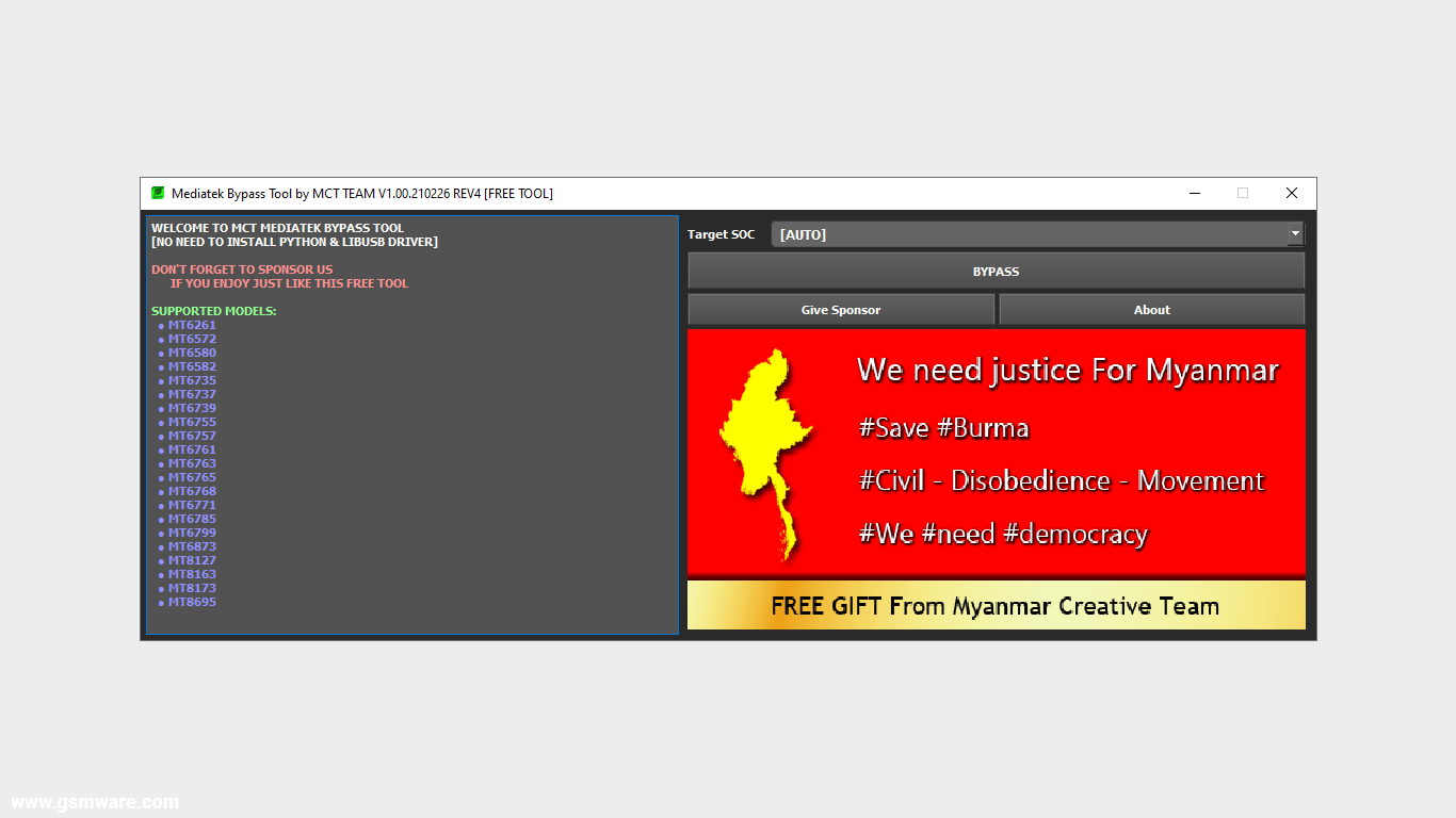MediaTek Bypass Tool V1.00.210226 REV4 By MCT Team
