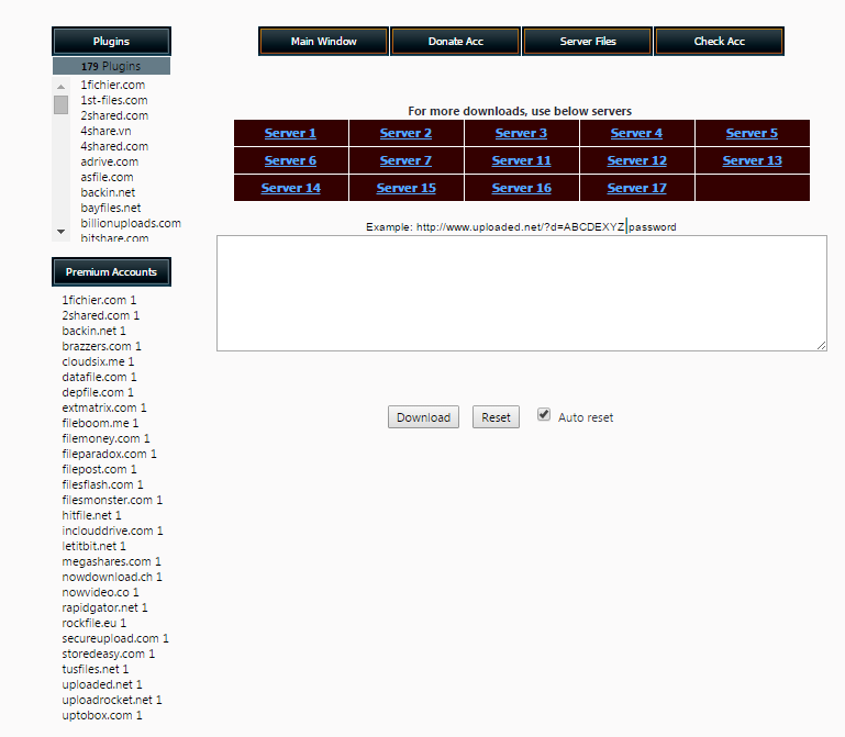 Uploaded, Turbobit, Netload, Letitbit, Filefactory, Extabit