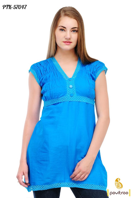 sky color cotton casual kurta fashion tunic for young college girls at best discount offer prices in Surat India