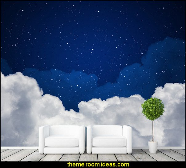 Night Sky Wallpaper Clouds U0026 Stars Wall Murals