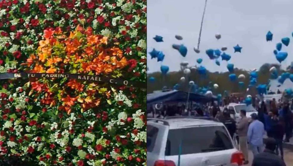 """Video: Con flores de Caro Quintero, de jefes de plaza del CDS y globos: así fue el funeral de """"El Azulito"""""""