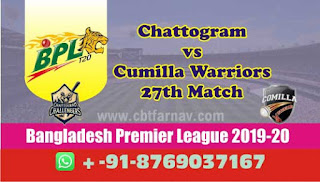 Today Match Prediction Cumilla vs Chattogram BPL T20 27th Match 100% Sure