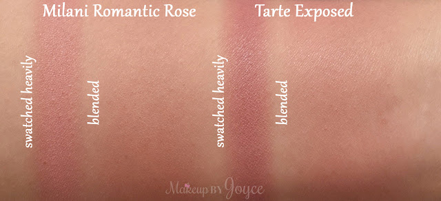 Milani Romantic Rose Powder Blush vs Tarte Exposed Swatches