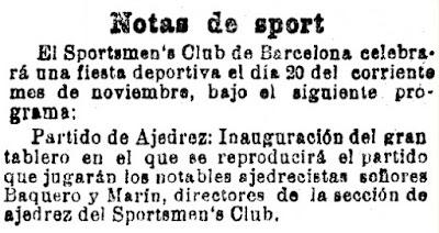 Recorte de La Vanguardia, 17/11/1904