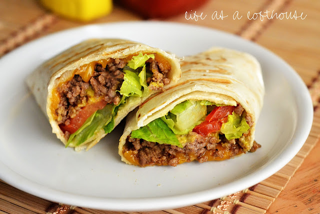 Grilled Cheeseburger Wraps are filled with lean ground beef, lettuce, tomato, a little cheese, and wrapped in a flour tortilla. Life-in-the-Lofthouse.com