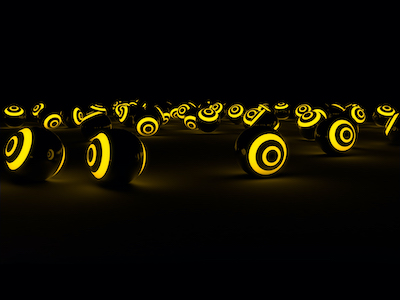 3D Yellow glowing spheres background
